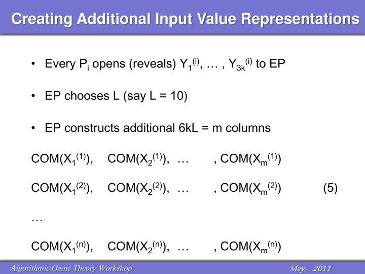 Creating Additional Input Value Representations