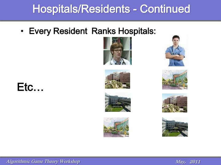 Hospitals/Residents - Continued