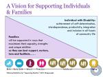 a vision for supporting individuals families