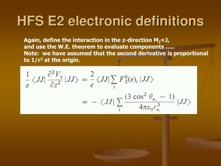 HFS E2 electronic definitions
