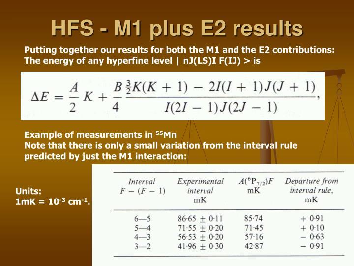 HFS - M1 plus E2 results