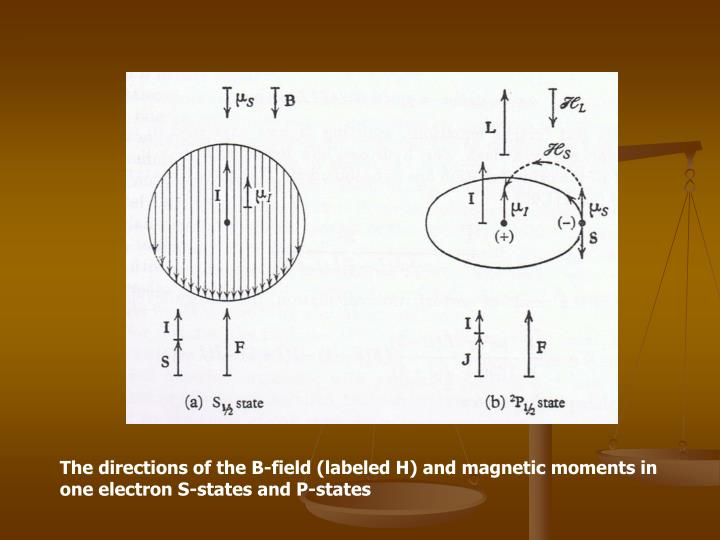 The directions of the B-field (labeled H) and magnetic moments in one electron S-states and P-states
