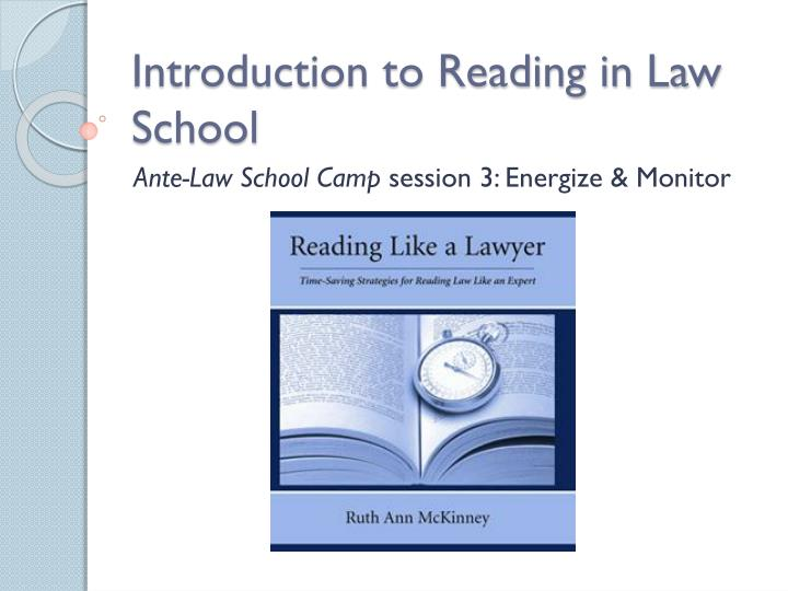 introduction to reading in law school n.