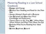 mastering reading in a law school casebook