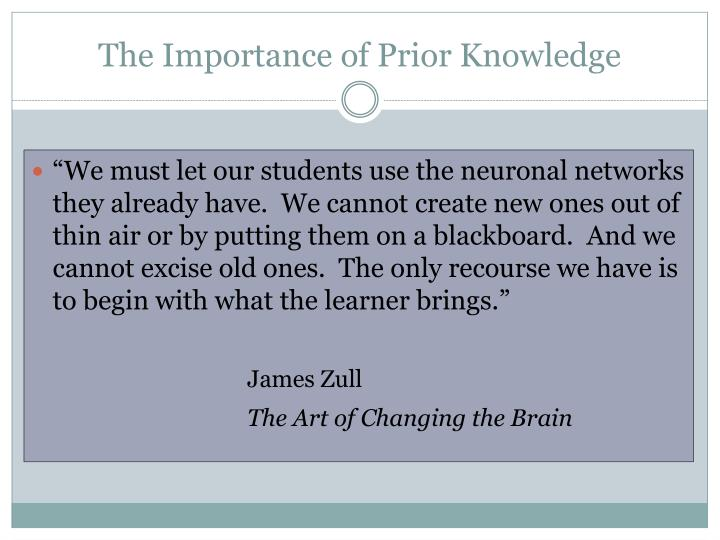 The Importance of Prior Knowledge