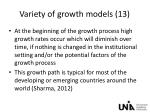 variety of growth models 13
