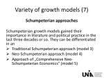 variety of growth models 7