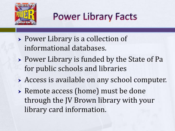 Power library facts