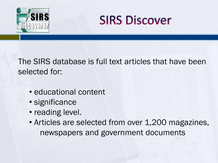 SIRS Discover