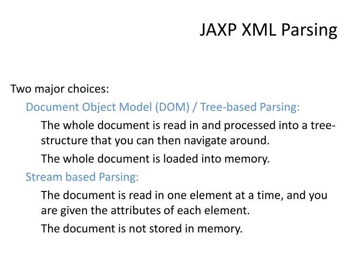 JAXP XML Parsing