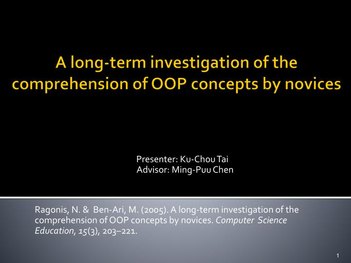a long term investigation of the comprehension of oop concepts by novices n.