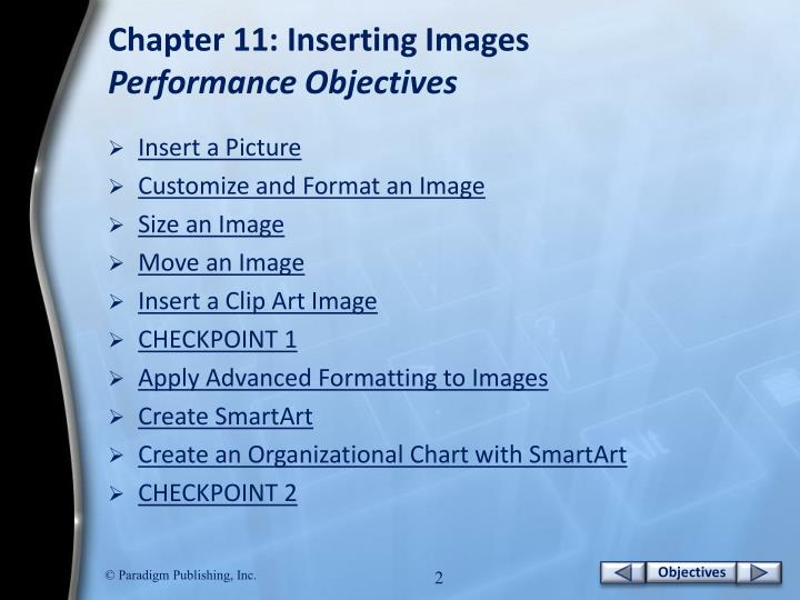 Chapter 11 inserting images performance objectives