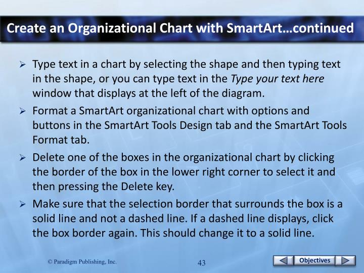 Create an Organizational Chart with SmartArt…continued