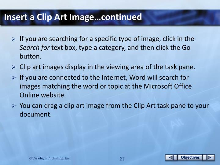 Insert a Clip Art Image…continued