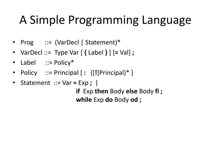A Simple Programming Language