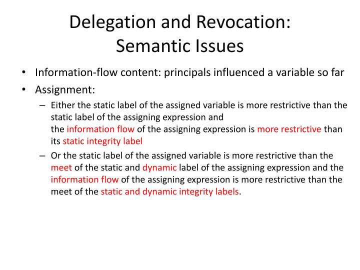 Delegation and Revocation:
