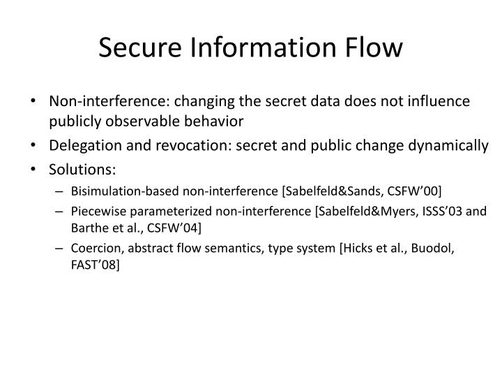 Secure Information Flow