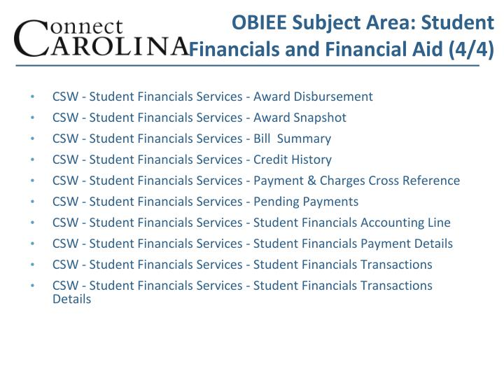 OBIEE Subject Area: Student Financials and Financial Aid (4/4)