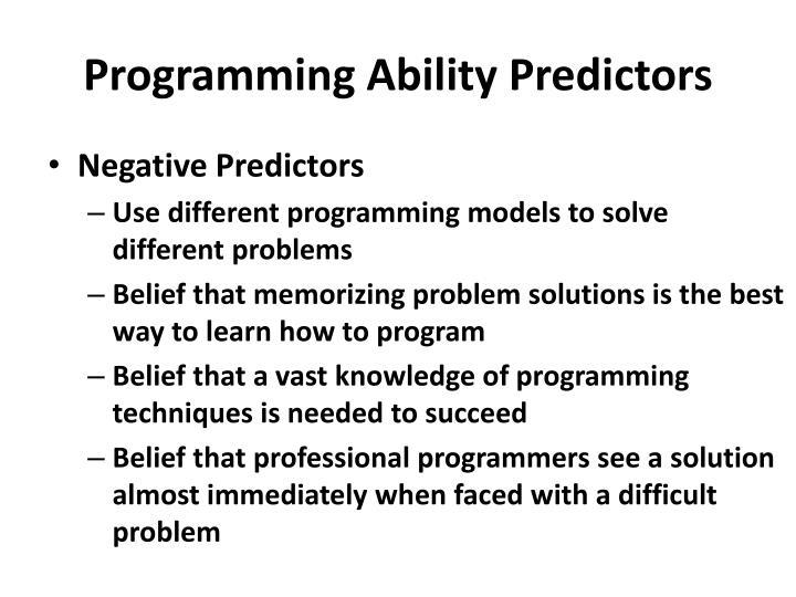 Programming Ability Predictors