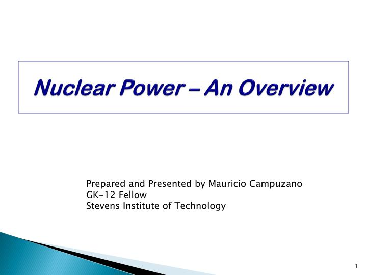 nuclear power an overview n.