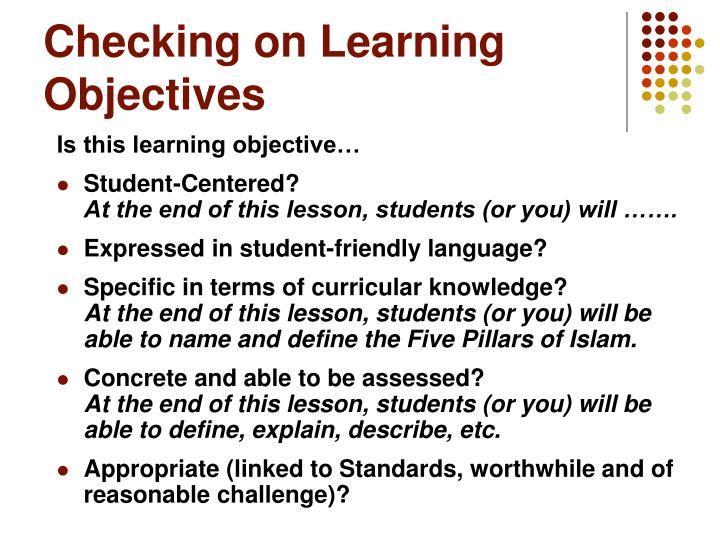 Checking on Learning Objectives