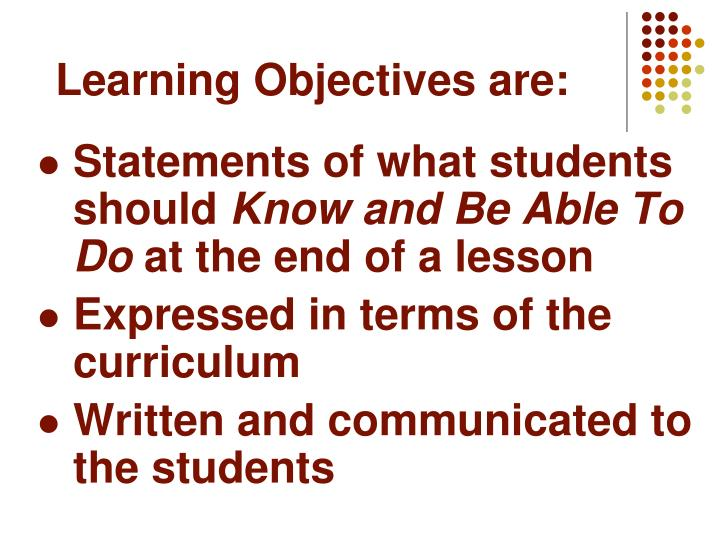 Learning Objectives are: