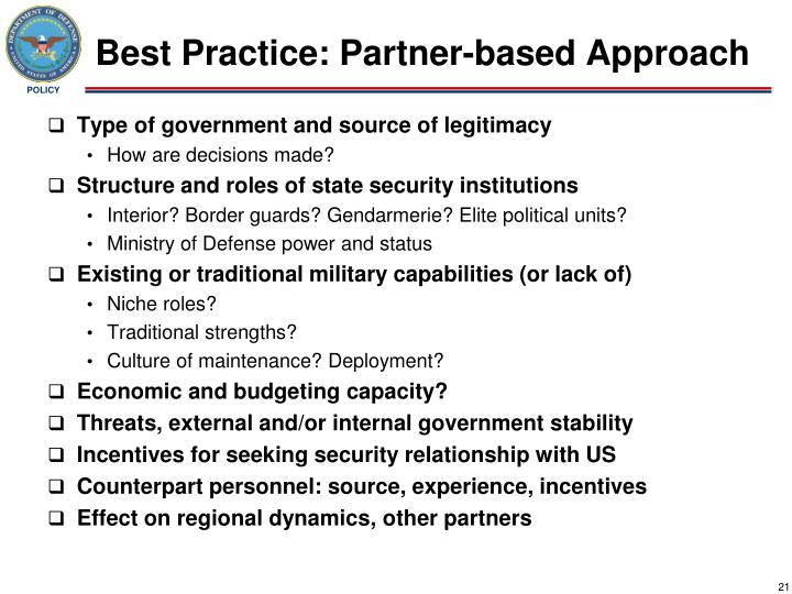 Best Practice: Partner-based Approach