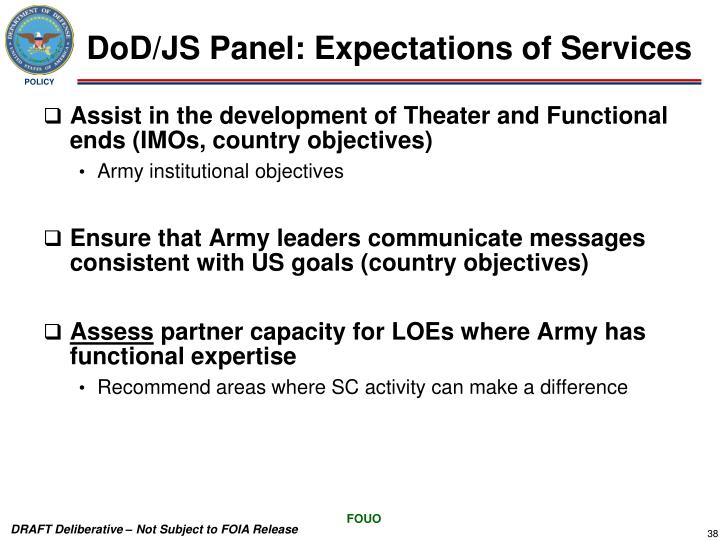 DoD/JS Panel: Expectations of Services