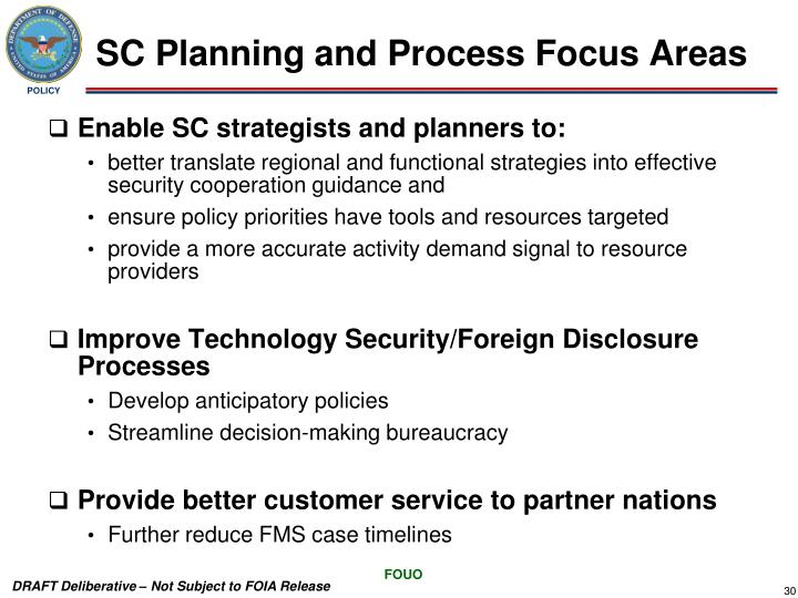 SC Planning and Process Focus Areas
