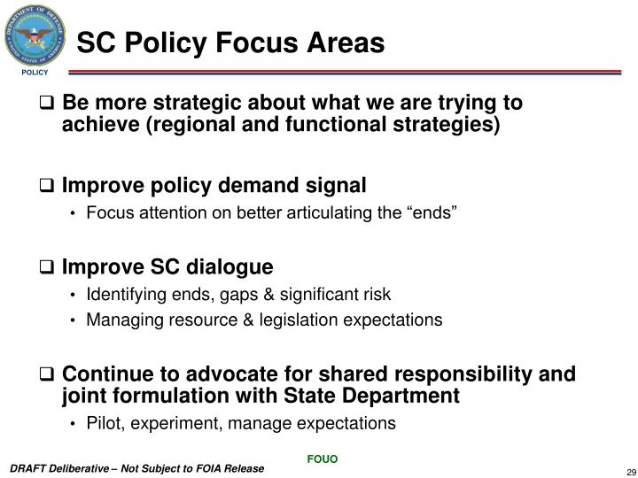SC Policy Focus Areas