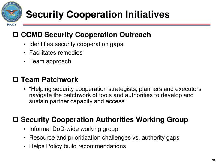 Security Cooperation Initiatives