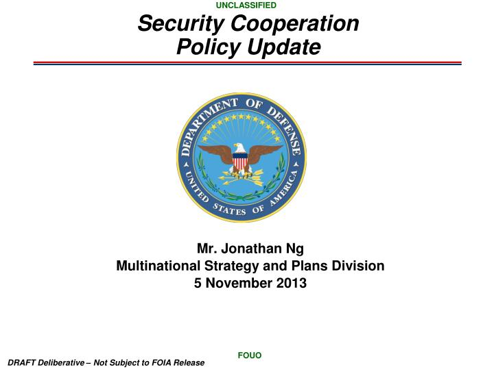 security cooperation policy update n.