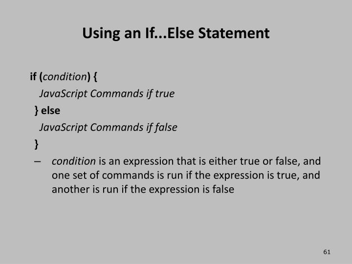 Using an If...Else Statement