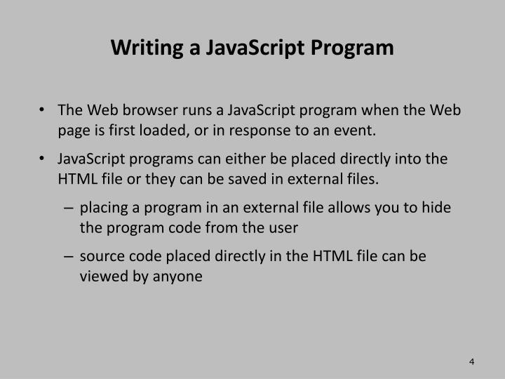 Writing a JavaScript Program