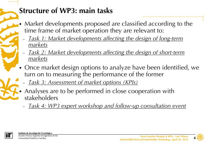 Structure of WP3: main tasks