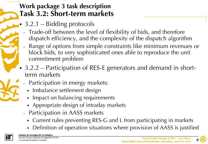 Work package 3 task description