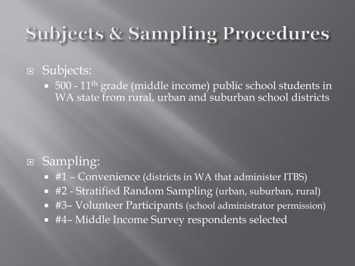 Subjects & Sampling Procedures