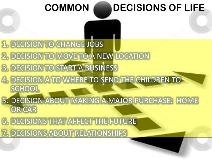COMMON          DECISIONS OF LIFE