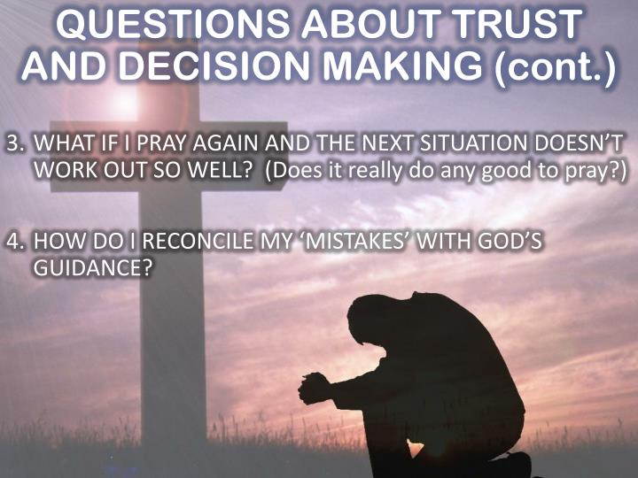 QUESTIONS ABOUT TRUST