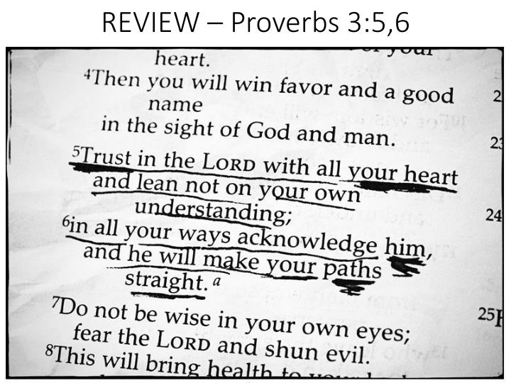 Review proverbs 3 5 6
