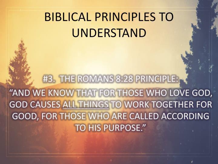 BIBLICAL PRINCIPLES TO UNDERSTAND