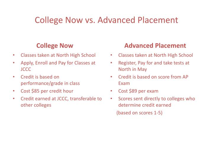 college now vs advanced placement n.