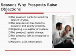 reasons why prospects raise objections