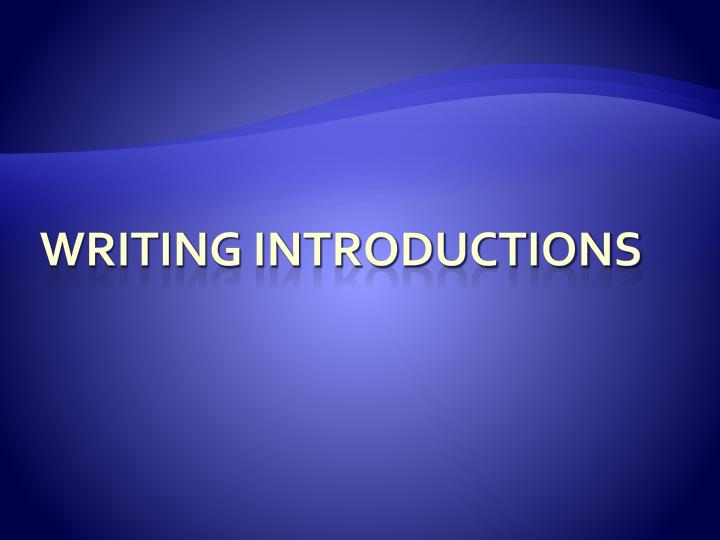 writing introductions n.