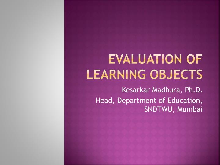 evaluation of learning objects n.