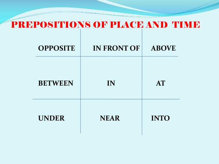 PREPOSITIONS OF PLACE AND  TIME