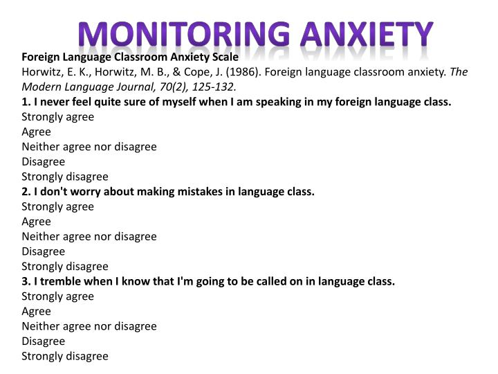 Monitoring anxiety