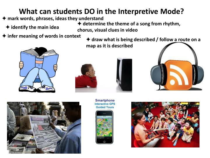 What can students DO in the Interpretive Mode?