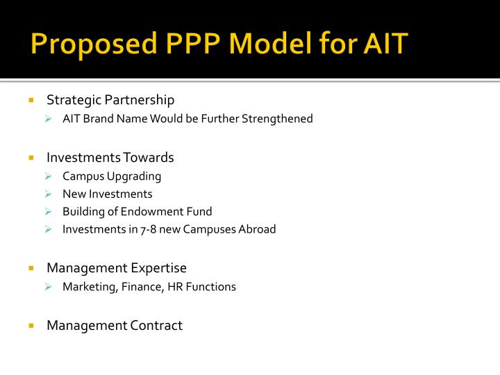 Proposed PPP Model for AIT