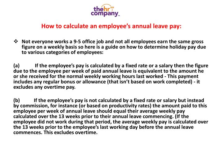 How to calculate an employee's annual leave pay: